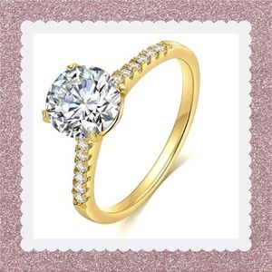 14K Gold-Plated Bronze Base CZ Ring